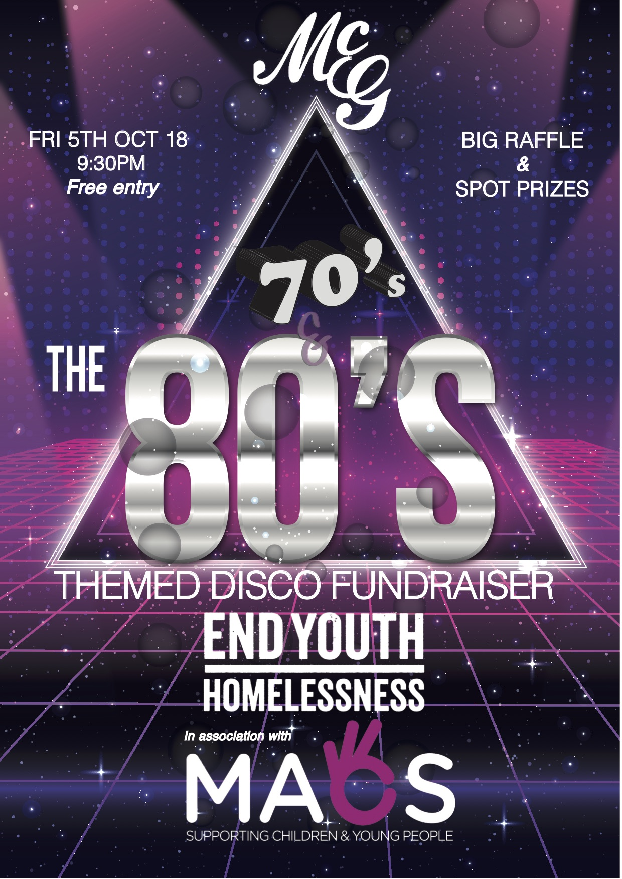 70's & 80's Disco Fundraiser for the Belfast Sleep Out - MACS