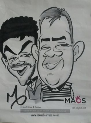 Antonio & Brian caricature